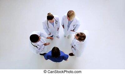 Parlare, ospedale, gruppo, dottori