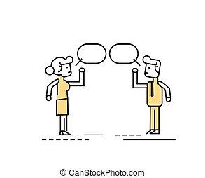 parlare, persone, due, affari, discutere.
