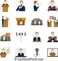 parlare pubblico, icone