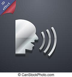 parlare, spazio, testo, moderno, simbolo., rastrized, trendy, disegno, 3d, style., tuo, icona