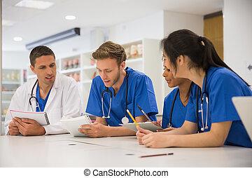 parlare, studenti, seduta, medico