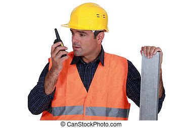 parlare, suo, walkie-talkie, artigiano