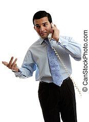 parlare, uomo affari, commesso, telefono