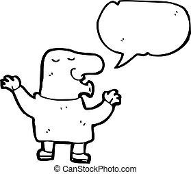 parlare, uomo, naso, cartone animato, grande