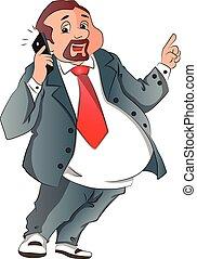 parlare, vettore, cellphone., felice, uomo affari