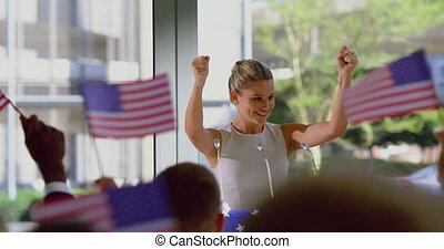 parle, femme, business, politique, orateur, campagne, 4k, ...