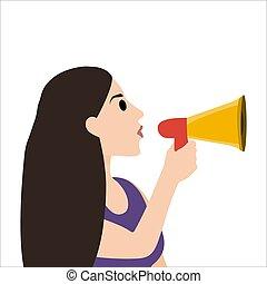 parle, isolé, blanc, femme, porte voix, son