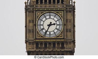 parlement, cadran, grand, haut, britannique, bâtiment, westminster, fin, ben, londres