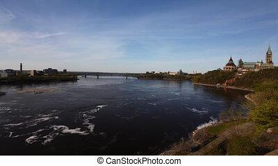 parlement, canada's, timelapse, ottawa, boven, rivier, aanzicht