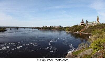 parlement, canada's, timelapse, ottawa rivier, aanzicht