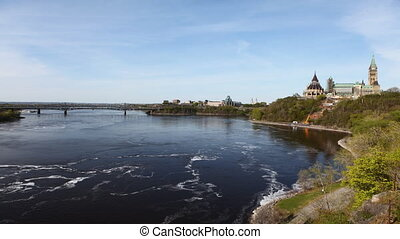 parlement, canada's, timelapse, rivière ottawa, vue