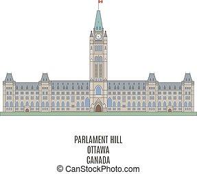 parlement, de, canada, sur, colline parlement