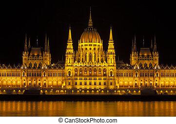 parlement, hongrois, bâtiment.