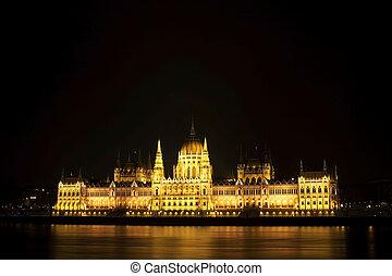 parlement, hongrois, nuit