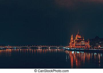 parlement, nuit, hongrois, bâtiment