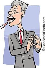 parler, à, langue fourchue, dessin animé