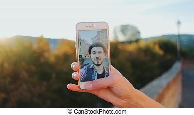 parler, appeler, homme, vidéo, smartphone