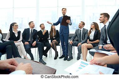 parler, conference., busines, orateur, business, constitué, donner