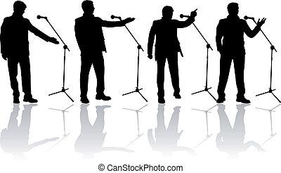parler, dans, les, microphone