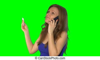 parler, image, pregnancy., téléphone, main, screen., 4k, prise, chroma, clã©, femme
