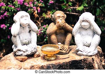 parler, non, -, trois, entendre, voir, singes