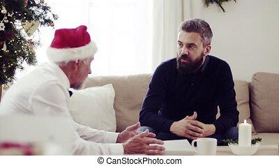 parler., séance, sofa, père, fils, temps, adulte, personne agee, noël