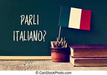parli, italiano?, pregunta, usted, italian?, hablar