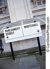 Parliament and Whitehall Street Sign in Westminster, London