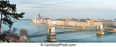 Parliament building and Chain Bridge in Budapest, Hungary, Europe.