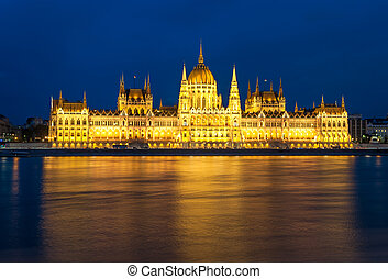 Parliament building and the Danube river at night, Budapest, Hungary