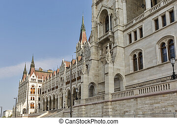Parliament building facade in Budapest, Hungary.