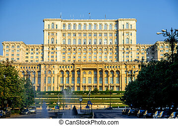 Parliament building in Bucharest - Palace of the Parliament...