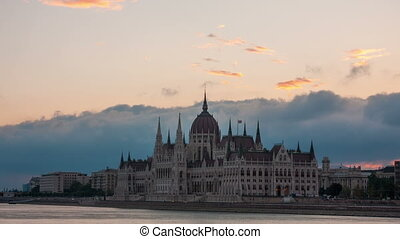 Parliament building in Budapest early in the morning before sunrise, Hungary (]timelapse)