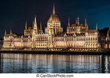 Parliament building in Budapest, Hungary, Europe.