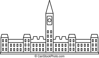 Parliament building in Ottawa icon, outline style -...