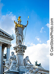 Parliament building in Vienna, Austria and statue of Pallas Athena Brunnen