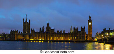 Parliament building with Big Ben panorama in London