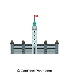 Parliament Buildings, Ottawa icon, flat style - Parliament...