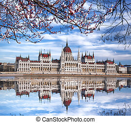 Parliament during spring time in Budapest, Hungary - Famous...
