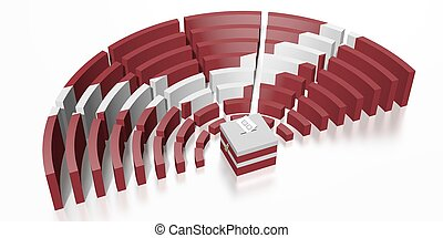 Parliament election in Latvia - 3D rendering