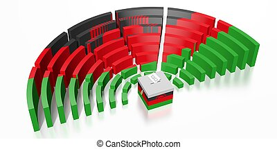 Parliament election in Malawi - 3D rendering