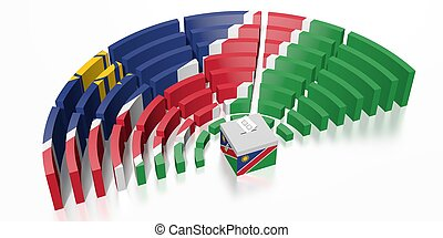 Parliament election in Myanmar - 3D rendering