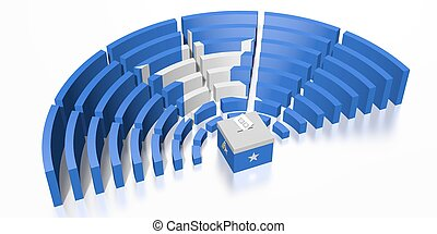 Parliament election in Somalia - 3D rendering