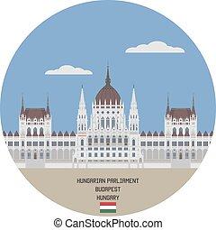 parliament., húngaro, hungría, budapest