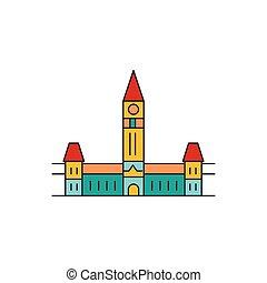 Parliament hill icon, cartoon style