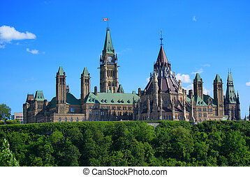 Rear view of Canada's Parliament Buildings atop Parliament Hill on Ottawa, Ontario Canada.