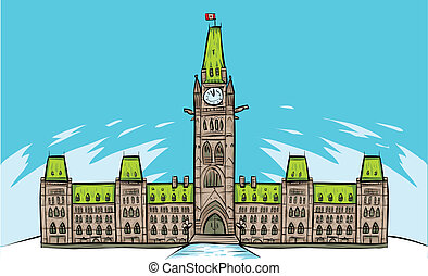 Parliament Hill, Ottawa - Cartoon of Parliament Building in...