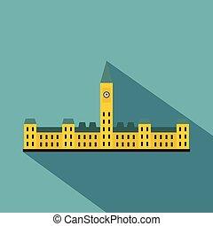 Parliament Hill, Ottawa icon, flat style
