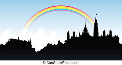 Parliament Hill Ottawa - Rainbow over a skyline silhouette...