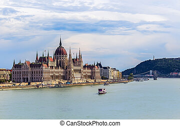 Parliament in Budapest with a view of the statue